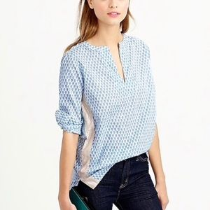 J. Crew floral block print tunic with gold tape